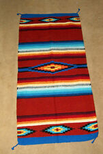 "Saltillo Mexican Throw Rug Tapestry Southwestern 32x64"" Acrylic RUSTY BROWN"