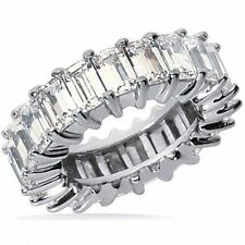 12.75 carat Emerald Cut DIAMOND ETERNITY BAND Platinum RING F VS 17 x .75 size 9
