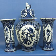 """f788: 3-PIECE 15½"""" DELFT BLUE CABINET SET by BOCH for ROYAL SPHINX"""