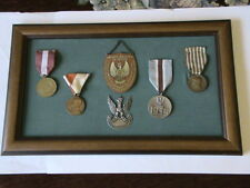 SET of POLISH PRE WAR MILITARY COMBATANT MEDALS with GORGETS - BARGAIN !!!