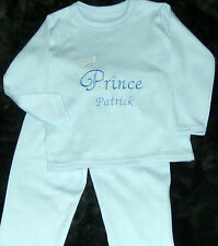 Personalised Baby Boy Pyjamas Prince theme embroidered Blue gift 6-12 months