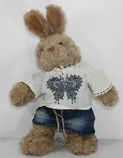 "Brown Bunny Rabbit Build a Bear Bohemian Hippie Clothes 17"" Plush Stuffed TALKS"