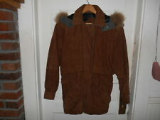ANDREW MARC 3/4 LENGTH SUEDE  Coat W/ Detachablel RACCOON FUR COLLAR EUC  Sz M