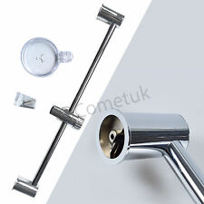 Polished Chrome Shower Head Rail Riser Slide Adjustable Brackets Holder Bath