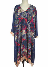 "4X 5X Chiffon Kaftan L 48"" Embroidered Dress Poncho Caftan Tunic - EP139"