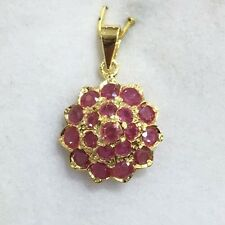 Pre Owned 14k Solid Yellow Gold Cluster Pendant With Natural Ruby Round Cut2.90G