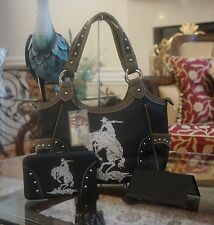 Western Montana West HORSES 3 Compartment Cowgirl Shoulder Handbag+Wallet Set