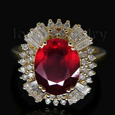 Jewelry Sete Natural Brilliant Diamond Blood Ruby Ring Solid 14K Yellow Gold