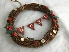 Twig Round Noel Sign Holly Wreath Wood Door Christmas Gisela Graham Decoration