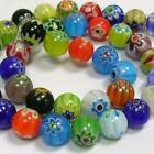 65 x 6mm / 50 x 8mm / 20 x 10mm MIXED MILLEFIORI GLASS BEADS