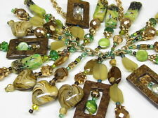 ART Glass Necklace Gold Spring Hearts Hand Crafted AMAZING Choker Statement