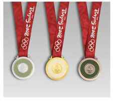Beijing 2008 Olympic Medal Set (Gold/Silver/Bronze) Silk Ribbons& Display Stands