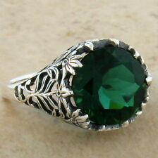 3.5 CARAT SIM EMERALD ANTIQUE DESIGN .925 STERLING SILVER RING SIZE 7.75,#445