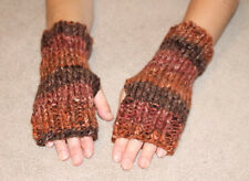 Hand Knit Fingerless Gloves- Wrist Warmers-Chocolate Bulky Heavy Weight