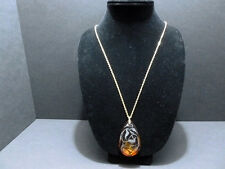 PENDANT GLASS BROWN ( LEAF OVAL ) METAL GOLD CHAIN NECKLACE 6008