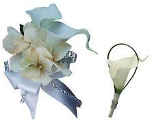 2pc Set - White Calla Lily and Champagne Hydrangea Wrist Corsage & Boutonniere