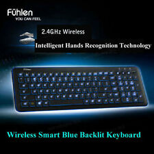 Blue LED Backlit Slim Wireless Intelligent Keyboard + USB Receiver for PC Laptop