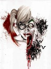 HARLEY QUINN  SUICIDE SQUAD JOKER WATERCOLOUR  ART IMAGE A3 Poster Gloss Print