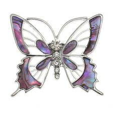 Silver Paua Shell & Crystal Pink Butterfly Brooch