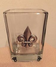 Fleur-de-lis Glass Candle Holder