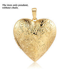Vintage Womens Couple Locket Frame Heart Pendant Fit Necklace jewelry