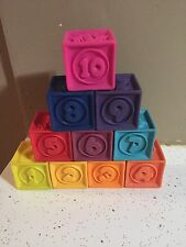 Lot Of 10 B. Surprised One Two Squeeze Blocks Baby Rubber Blocks Battat