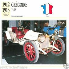GREGOIRE 13/18 1912 1913 CAR VOITURE FRANCE CARTE CARD FICHE