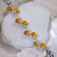 "16CT Yellow Citrine & White Topaz Victorian Style Silver Bracelet 7"" GBR201"