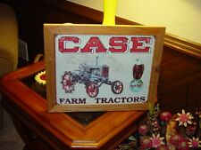 CASE FARM TRACTORS CUSTOM SOLID CEDAR FRAMED RETRO METAL WEATHERED SIGN