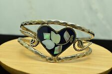 """SILVER PLATED HEART & MOTHER OF PEARL ACCENT 5.5"""" CUFF BRACELET #X-16851"""
