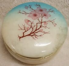 Alabaster Round Trinket Jewelry Ring Box Jar Holder Cherry Blossom Hinged Lid
