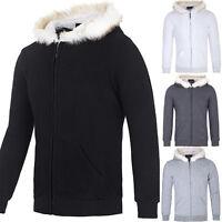 Fur Collar Men's Slim Fit Warm Hoodies Hooded Coat Outerwear Fleece Overcoat XL
