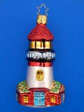 INGE GLAS OCEAN LAKE PORT LIGHTHOUSE GERMAN BLOWN GLASS CHRISTMAS TREE ORNAMENT