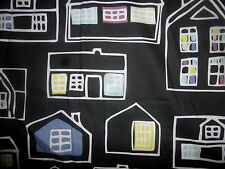 Home Decor Fabric Ikea Ema Jones 2008 House Home Shapes on Slate Black 2 YDS