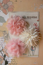 DELICATE PEACH PINK & IVORY Fabric 3 Flower Pk approx 75-80mm across Manor House