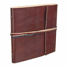 Fair Trade Handmade 3 String Chocolate Leather Photo Album Scrapbook