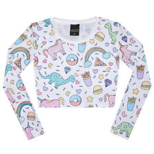 UNICORN LONG SLEEVE CROP TOP T SHIRT WOMENS GIRL HIPSTER TUMBLR FUN CUTE GRUNGE