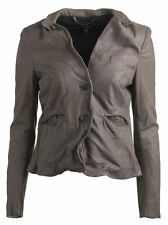 Muubaa Japonica Leather Blazer in Gun Grey UK10 / US6 / EU38 RRP £329