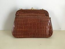 TRES BEAU SAC A MAIN ANCIEN MARRON A RESTAURER EN CUIR VERITABLE CROCO VINTAGE