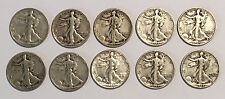 TEN 90% Junk Silver Liberty Walking Half Dollars $5 Face Value Circulated