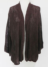 Eileen Fisher Crocheted Cardigan Top  Box Style Open Linen/Silk Brown Size XL