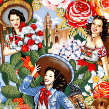Alexander Henry LAS SENORITAS Mexican Senorita Pin Up Girl Fabric