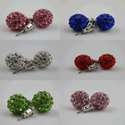 SHAMBALLA STUD EARRING CRYSTAL DISCO CLAY BALL 8MM **special offer**