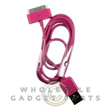 Apple iPhone 4/i4S Data Cable Dark Pink Sync USB Charger Cord Transfer Connector