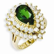 NEW JBK JACQUELINE BOUVIER KENNEDY COCKTAIL RING GREEN SWAROVSKI CRYSTAL SIZE 7