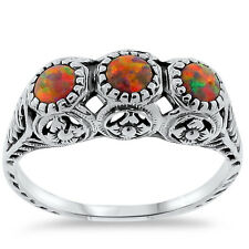 ORANGE LAB FIRE OPAL VINTAGE ANTIQUE STYLE 925 STERLING SILVER RING Sz 8.75,#271