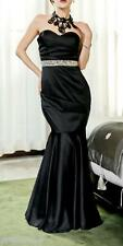 Lipsy VIP Embellished Waistband Fishtail Maxi Bandea party Black Dress Sz 12