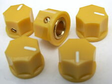 5 Small yellow knobs 15mm diameter 10mm high 7 sided minature ABS Brass+screw