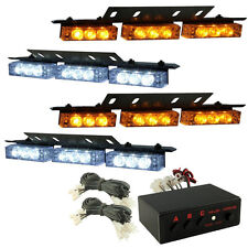 HQRP 36 LED Vehicle Strobe Lights Bars Emergency Front Grille Deck White Amber