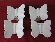 VINTAGE FITZ AND FLOYD WHITE PORCELAIN BUTTERFLY NAPKIN RINGS - SET OF 4 - JAPAN